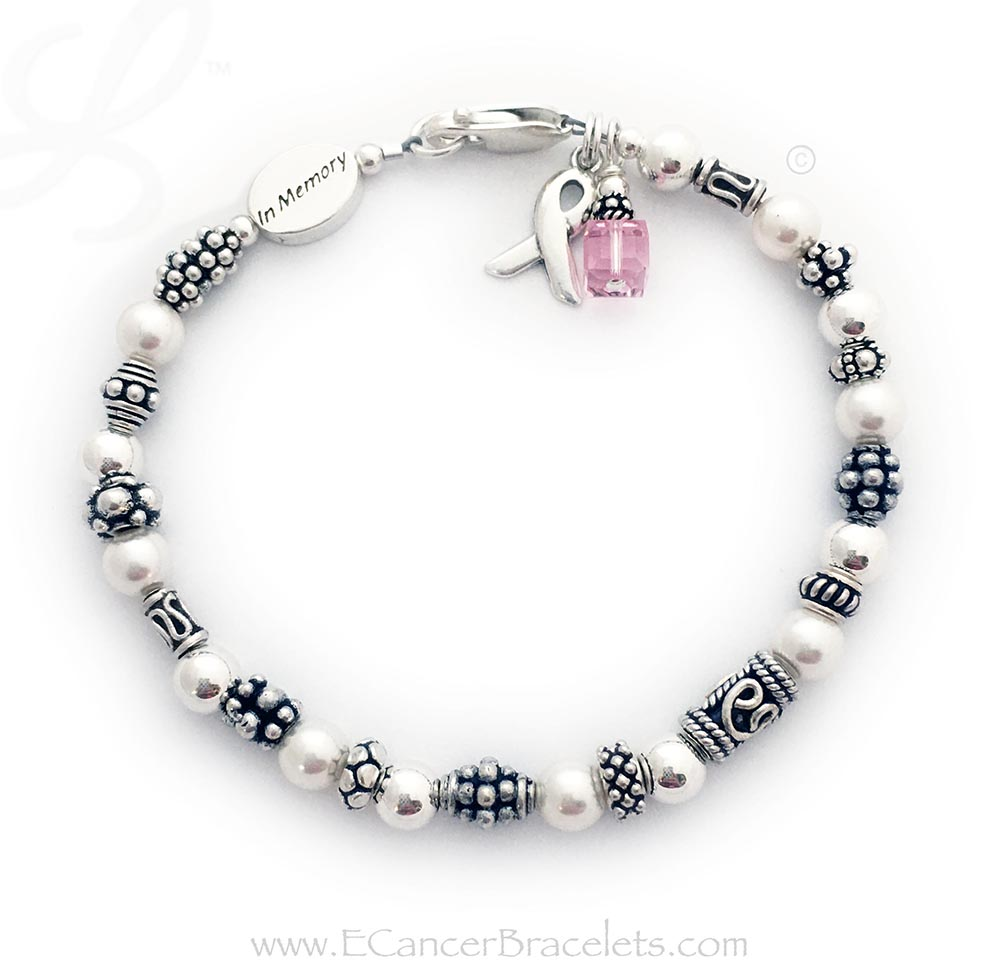 CBB-R42 Breast Cancer Pink Ribbon Bracelet  *They added an In Memory Bead*  This bracelet comes with the Ribbon Charm and Crystal Dangle (18 color options). They picked a Lobster Claw Clasp.